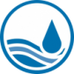 Water workshop logo - water droplet in river