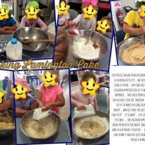 Children making cake