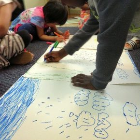 Children drawing water system poster