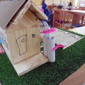 Wooden model of a water tank