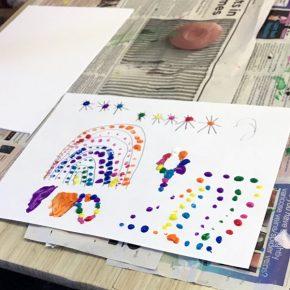 Rainbow dot painting