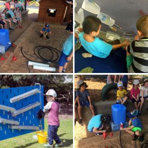 Children using everyday object to make watering systems