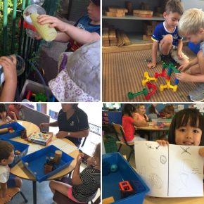 Children building water models and drawings