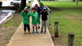Children looking for magpies with binoculars