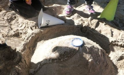 Sandpit volcano after eruption