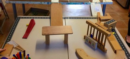 Children's model made with blocks