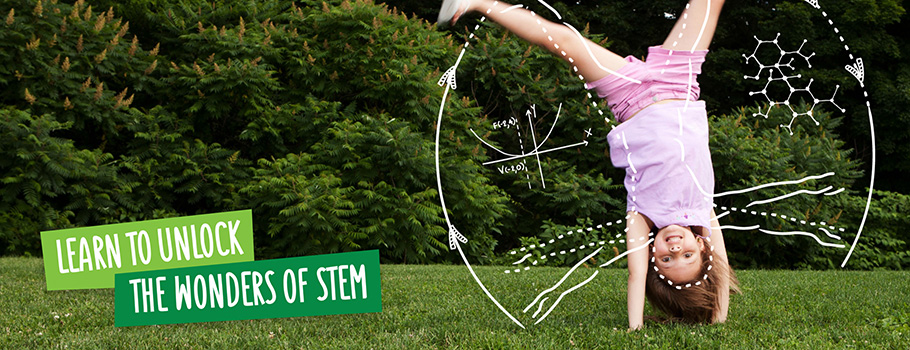 Learn to unlock the wonders of stem - girl doing cartwheel