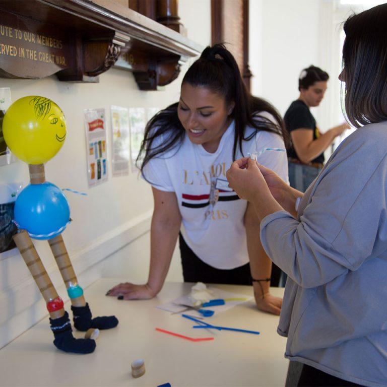 Workshop participants building a human body model