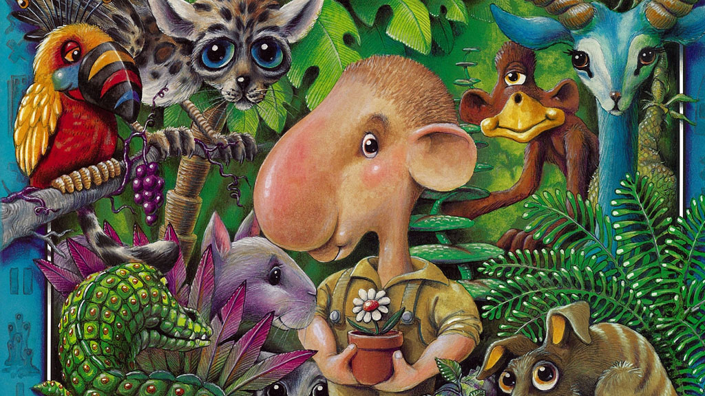 Uno in his jungle surrounded by plants and fictional animals