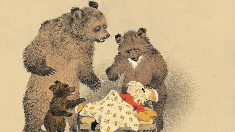 Mother, father and baby bear looking at Goldilocks sleeping