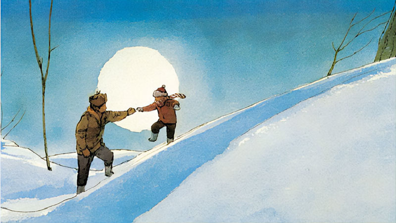 Child with adult on snowy hill and large moon in background
