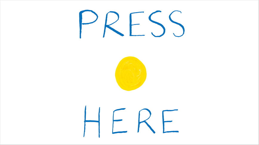 Press here text with yellow dot
