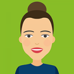 Avatar: Woman with brown eyes and brown hair up in bun
