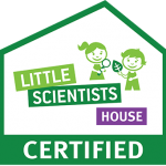 House outline with kids inside and text - Little Scientists House Certified