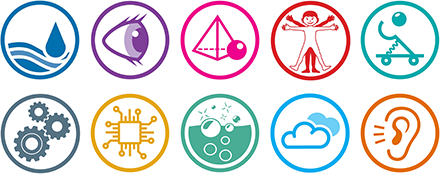 Workshop icons: Water, Optics, Mathematics, Human Body, Engineering, Design & Technologies, Computer Science, Chemical Reactions, Air and Acoustics