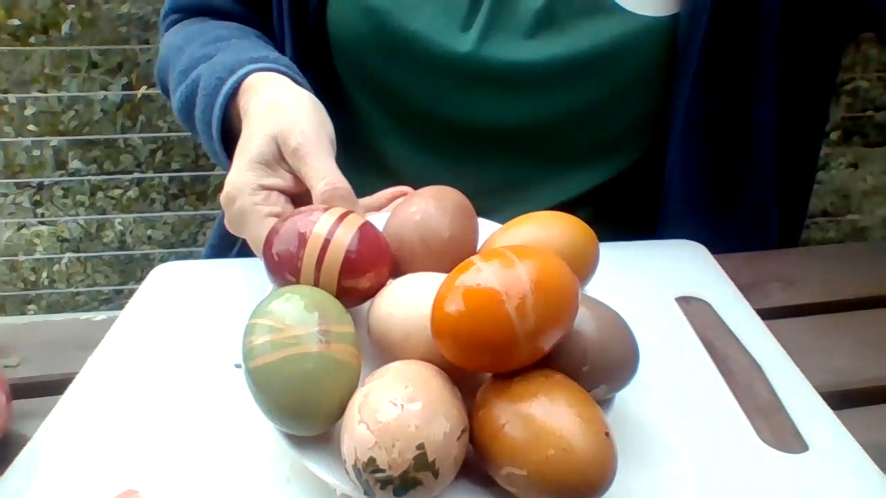 Colourful eggs dyed with natural and artificial dyes