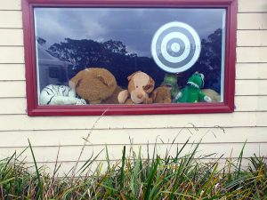 The bears are 'inside' the window