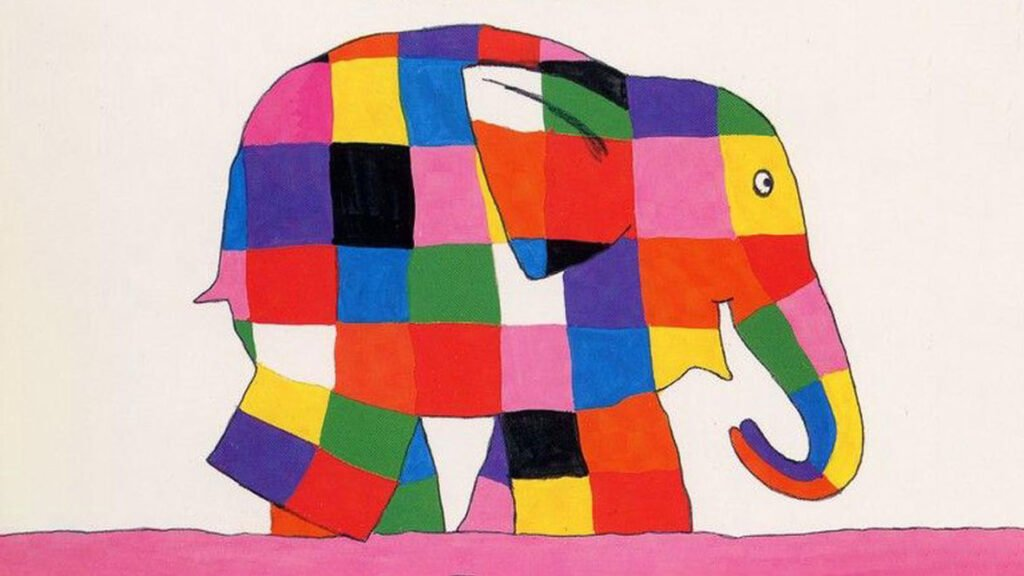 Elephant comprised of colourful squares