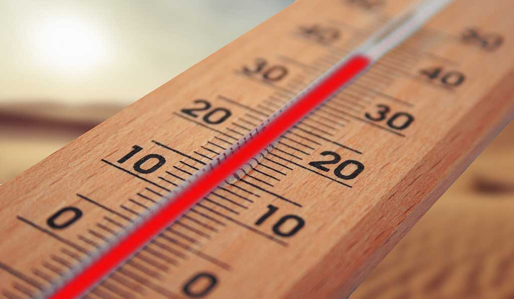 Wooden thermometer close up