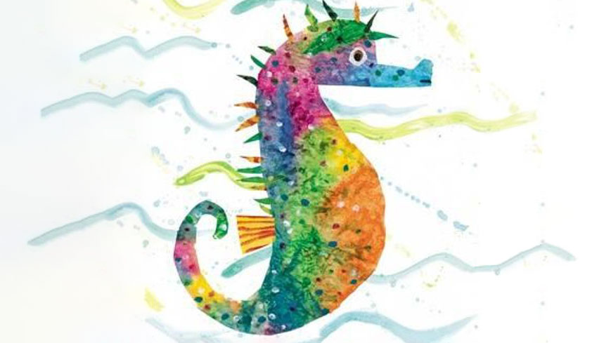 colourful drawing of a seahorse