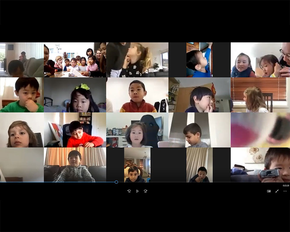 Kids on video conference call