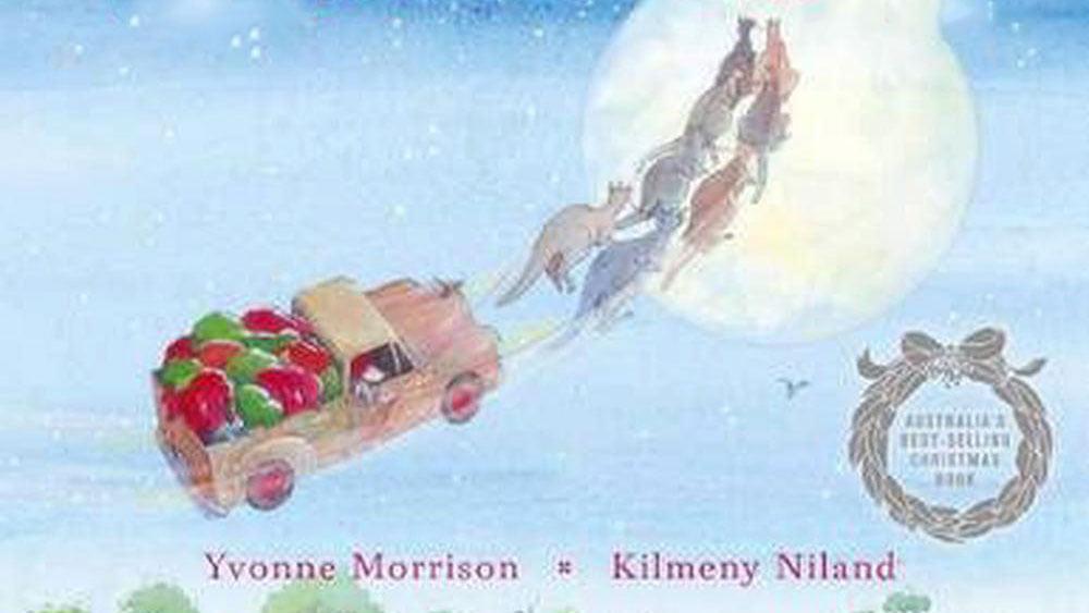 Santa flying in ute being pulled by reindeer