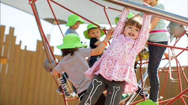 Girl swinging from play equipment