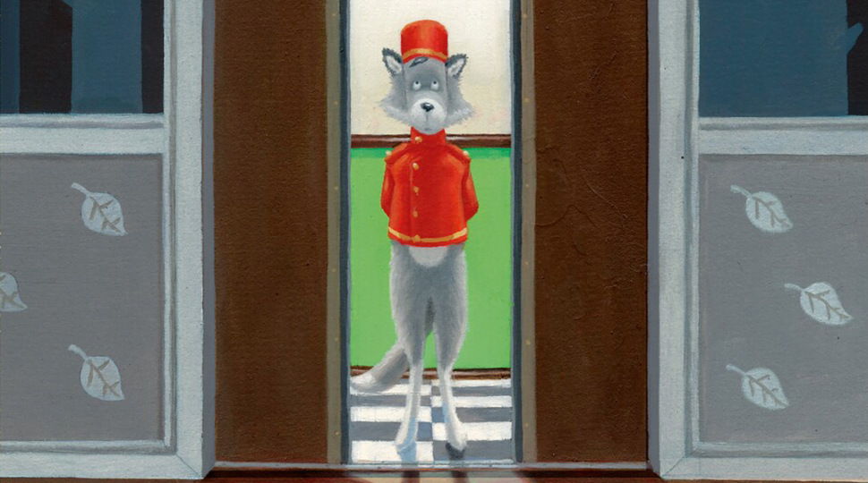 Wolf standing in a hotel elevator