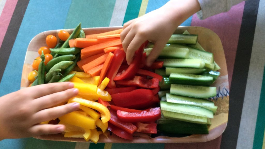 Vegetable platter with different coloured capsicums